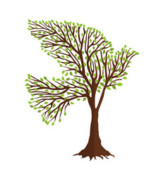 Dove bird shape in tree branches for nature help vector