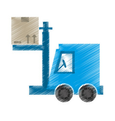 Drawing delivery forklift boxes work vector