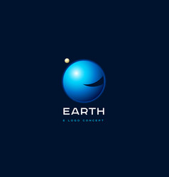 e monogram earth planet emblem vector image