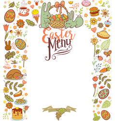 Easter menu card vector