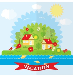Ecological holidays in countryside vector