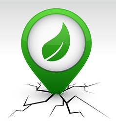 Ecology green icon in crack vector image