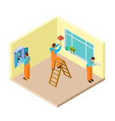 electricians at work in room isometric vector image