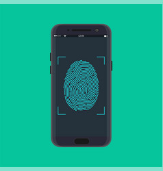 electronic fingerprint on pass scanning mobile vector image