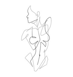 female figure one continuous line graphic i vector image