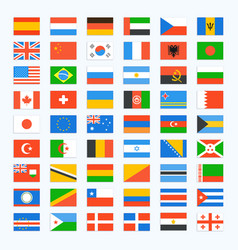 Flag of world icons set vector