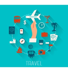Flat design icons set vacation and travel vector