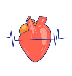 Flat heart with heartbeat vector