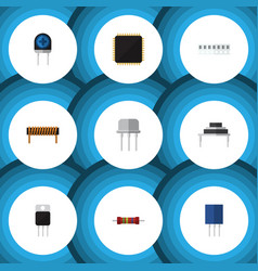 Flat icon electronics set of cpu receptacle vector