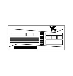 flight ticket symbol black and white vector image