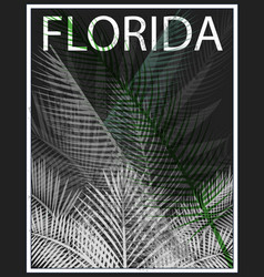 Florida typography with floral for t-shirt print vector