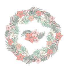 flower round garland tropical leaves and vector image