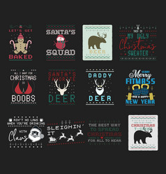 funny christmas graphic prints set t shirt vector image