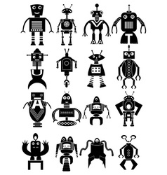 Funny robot icons set vector