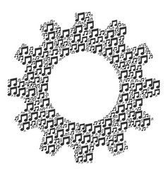 Gearwheel collage of music notes icons vector