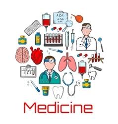 General medicine and healthcare sketches vector image