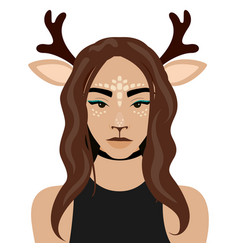 girl with deer ears and vector image