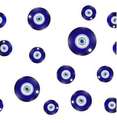 Glass evil eye symbol seamless pattern on white vector