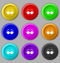 Glasses icon sign symbol on nine round colourful vector image