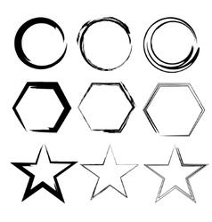 Grunge shapes Star circle hexagon Set of Hand vector