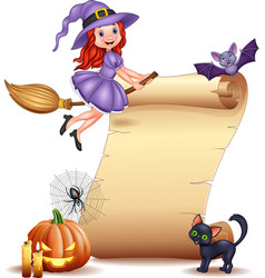 halloween sign with little witch bat spider web vector image