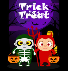 Halloween trick or treating background kids vector