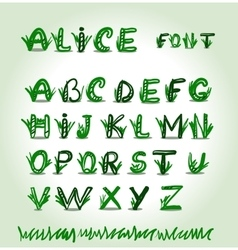 Hand drawn green font in format vector