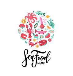 hand drawn seafood banner with lettering seafood vector image
