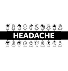Headache minimal infographic banner vector