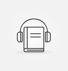headphones with book icon vector image