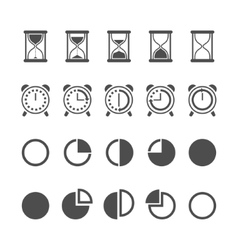 Isolated hourglasses and clocks icons set vector