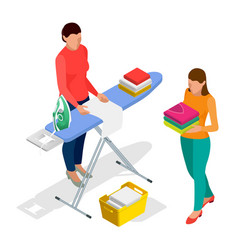 isometric woman ironing clothes using iron on vector image