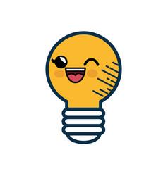 kawaii bulb icon vector image