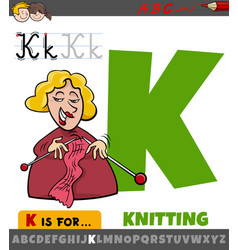 Letter k from alphabet with knitting word vector