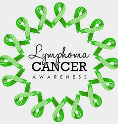 Lymphoma cancer awareness ribbon design with text vector image