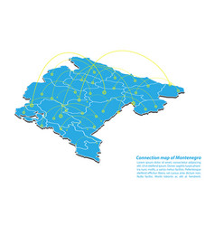 Modern of montenegro map connections network vector