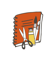 notebook and brushes vector image