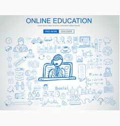 online education concept with business doodle vector image