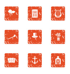 Outdated show icons set grunge style vector