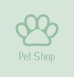 Pet shop logo with pet paw vector image