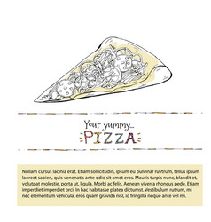 pizza slice outline fast food vector image