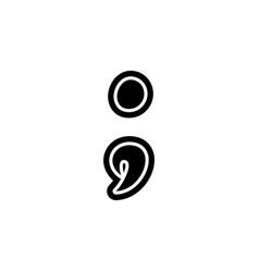 Point comma semicolon font decorative hand drawn vector
