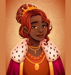 Portrait a beautiful african queen vector