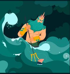 poseidon cartoon vector image