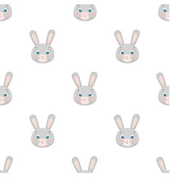 Rabbit muzzle icon in cartoon style isolated on vector