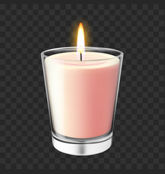 realistic glass candlestick flaming wax candle vector image
