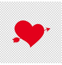Red heart pierced with arrow on clip art vector