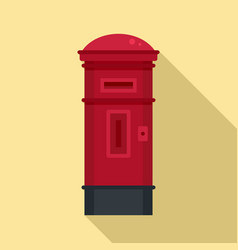 red street post box icon flat style vector image