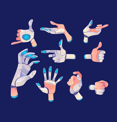 robot or cyborg hand in different gestures vector image