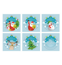 santa claus and friends background label banner vector image